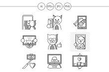 Cat selfie flat line icons. Set 2