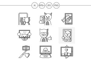Cat selfie flat line icons. Set 2