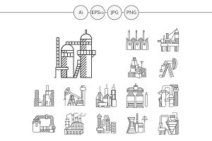 Industrial building line icon. Set 2