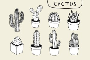 8 Hand Drawn Cactus Clip Art