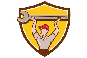 Mechanic Lifting Giant Wrench Crest