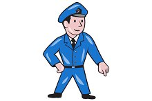 Police Officer Pointing Down Cartoon