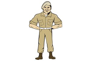 Ranger Standing Attention Cartoon