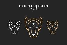 Set of design elements. Wolf Totem