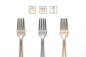 Cutlery Fork realistic isolated set