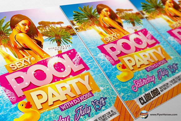 Sexy Pool Party Flyer Template Flyer Templates on Creative Market – Pool Party Flyer Template