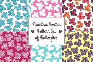 Butterfly seamless pattern set