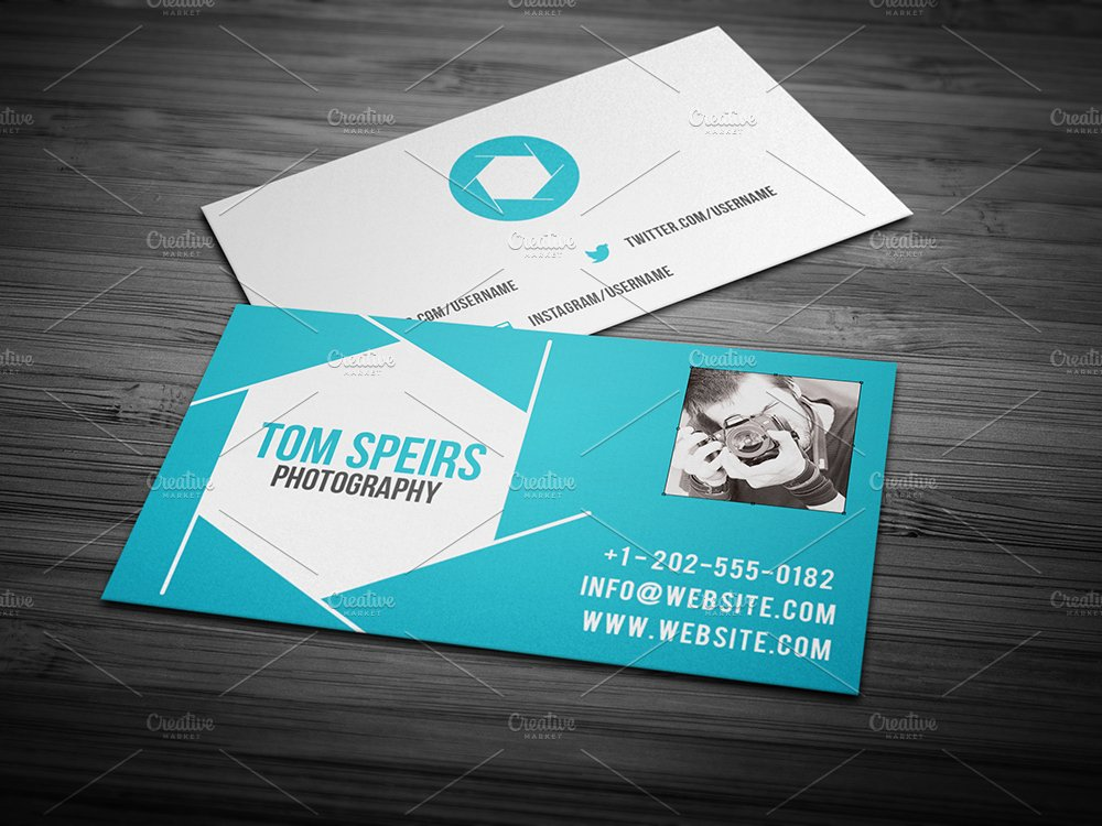 Photography business card 09 business card templates creative market reheart