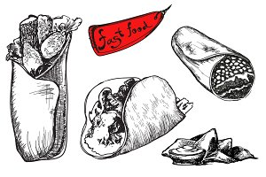 Set of fast food. Burrito.