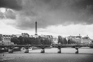 Eiffel Tower and Pont des Arts Bridg