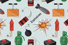Set of bombs. Explosives pattern