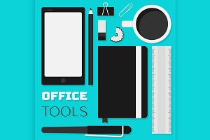 Flat design office tools