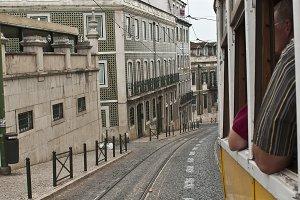 Travelling in a tram.