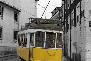 Classic yellow tram in Lisbon.