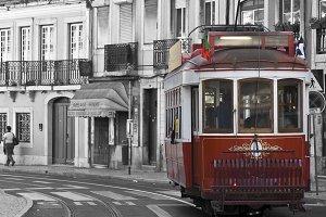 Red tram in Lisbon.