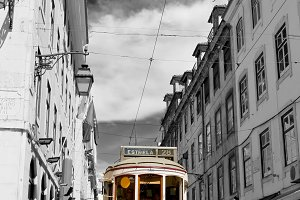 Tram in the center of Lisbon.