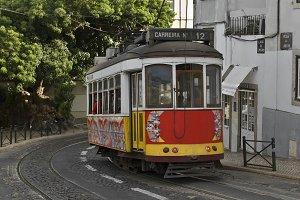Classic tram in Lisbon street.