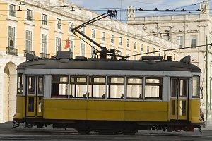 Tram in Comercio Place, Lisbon.