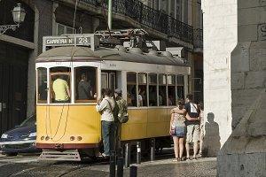 Yellow tram.