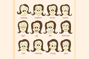 Vector set of smile faces