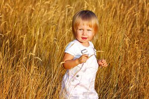 Girl and wheat ears