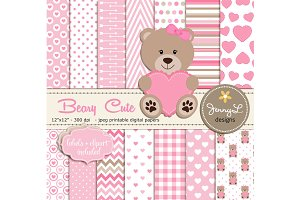 Beary Cute Digital Paper Clipart