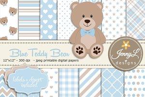 Blue Teddy Bear Digital Paper