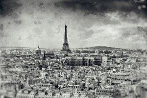 Eiffel Tower,Paris,B&W