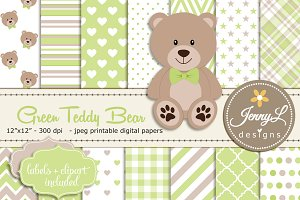 Green Teddy Bear Digital Paper