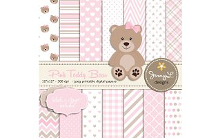 Pink Teddy Bear Digital Paper