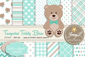 Turquoise Teddy Bear Digital Paper