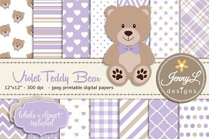 Violet Teddy Bear Digital Paper