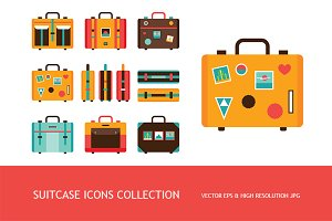 Travel bag Suitcase icons set