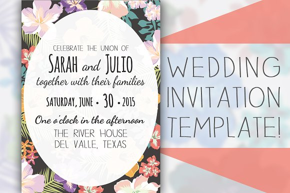 floral wedding invitation template invitation templates creative