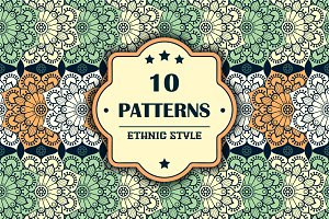 10 seamless patterns in ethnic style