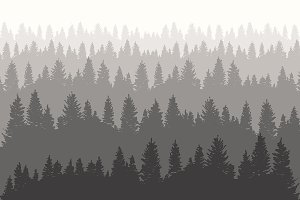 Fir forest vector design template