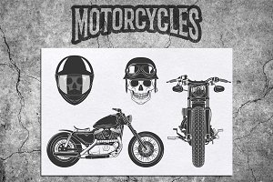 Motocycles design elements and logos