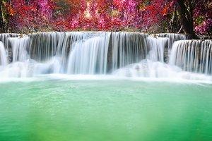 beautiful waterfall in autumn