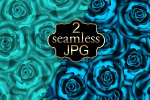 Seamless Roses pattern blue