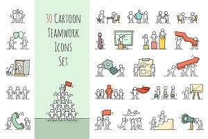 Cartoon teamwork icons set