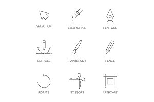Graphic designer tools outline icons