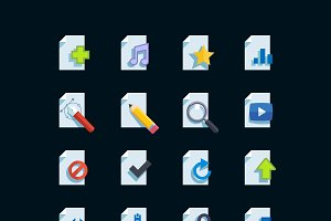 Flat media type icons set