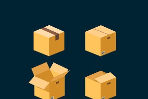 Flat boxes icons. EPS10 vector.