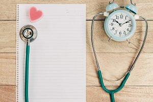 Stethoscope with alarm clock.
