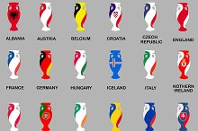 Euro Cup 2016. Vector Flags Icon Set