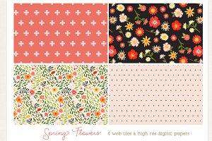 Spring Flowers- digi paper & web til