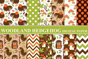 Woodland Hedgehogs Digital Paper