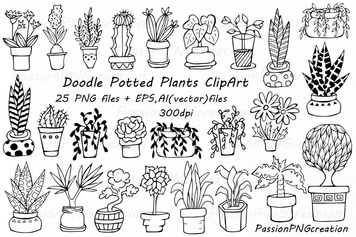 Doodle potted plants clipart ~ Illustrations ~ Creative Market