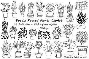 Doodle potted plants clipart