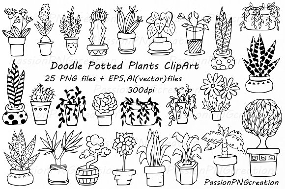 Line Drawing Doodles : Doodle potted plants clipart illustrations on creative